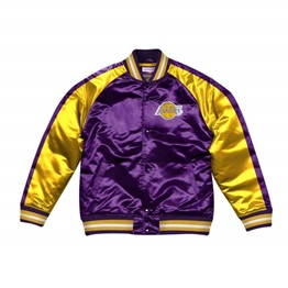 MITCHELL & NESS LOS ANGELES LAKERS COLOR BLOCKED SATIN JACKET